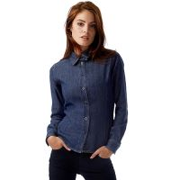 B&C Denim Shirt cu maneca lunga si aspect vintage